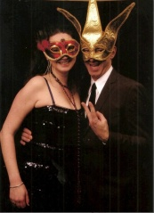 Yves and Amy decked out and masked up!