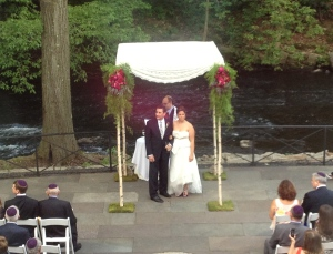 Evin and Robert's ceremony at The Stone House at NY Botanical Gardens.