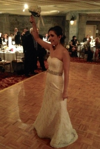 Paula prepares to toss the bouquet!