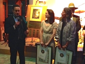State Assemblyman Pete Lopez gives Lisa and Betsy with the 2014 Distinguish Service Award.
