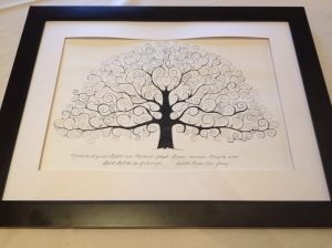 Michelle and Mike had all of their guests put their thumbprint and name on this drawing. They formed the leaves of the tree and will be a keepsake for the couple forever. Cool!