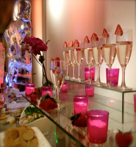 A row of champagne glasses to accompany the caviar!