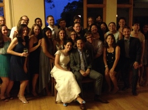 All of Nick and Anne Louise's college friends gathered together for a group shot.