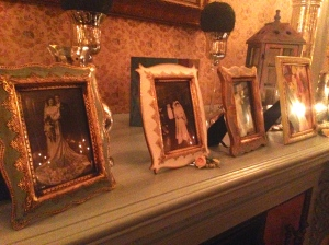 Old family wedding photos were displayed in the parlor.