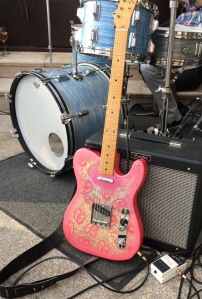 Amy's pink telecaster comes out of hiding!