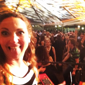 Amy snapped this selfie with the crowd.